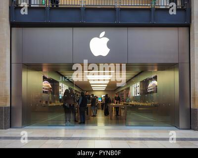 CAMBRIDGE, UK - CIRCA OCTOBER 2018: Apple store at Grand Arcade shopping centre - Stock Photo