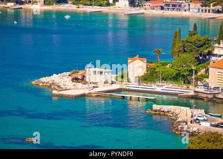 Mlini and Srebreno near Dubrovnik coastline view, southern Dalmatia region of Croatia - Stock Photo