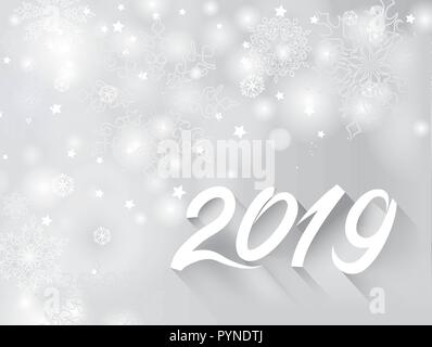 Happy New Year 2019 banner over snow blurry winter holiday background - Stock Photo