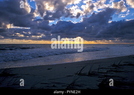 Sunset at West Beach Darsser Ort, Baltic Sea, Mecklenburg-Western Pomerania, Germany - Stock Photo