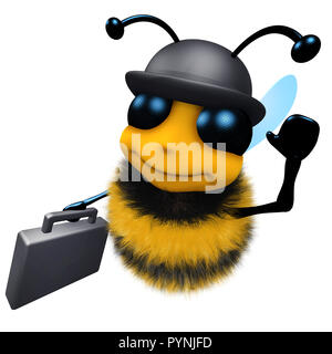 3d render of a funny cartoon honey bee wearing a bowler hat and carrying a briefcase - Stock Photo