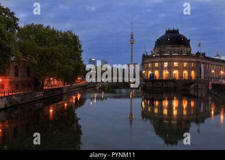 before sunrise in berlin with bodemuseum and tv tower - Stock Photo
