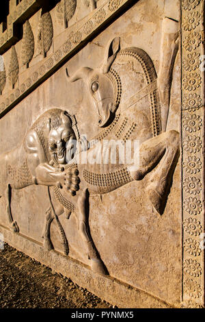 Relief sculpture of the subject people of the Achaemenian Empire climb the stairway Persepolis, Iran. - Stock Photo