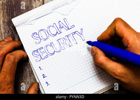 Handwriting text writing Social Security. Concept meaning assistance from state people with inadequate or no income. - Stock Photo