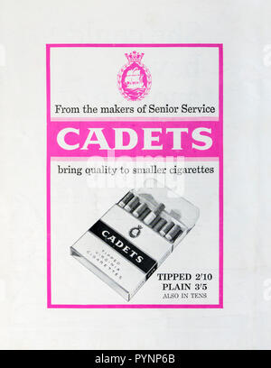 1963 advertisement for Cadets cigarettes. - Stock Photo
