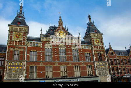 Amsterdam, The Netherlands, Holland country - Photo 01/29/2014 Main train station building exterior Amsterdam Central station. - Stock Photo