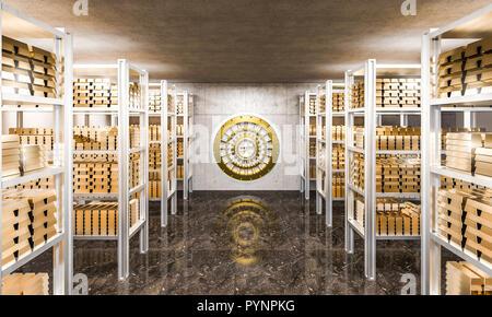 3d rendering of gold ingot in bank vault view from inside - Stock Photo