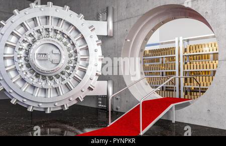 3d rendering of huge bank vault with gold ingot - Stock Photo