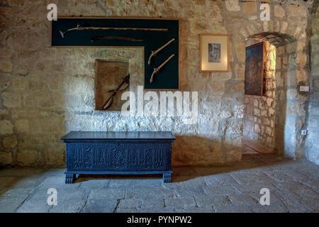 Njegusi, Montenegro - Interior of the birth house (18th century) of Petar II Petrovic Njegos (1813-1851) Montenegrin philosopher, poet and ruler - Stock Photo