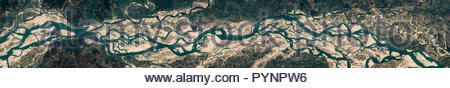 High resolution satellite image of   Brahmaputra river, Bangladesh, natural background texture, contains modified Copernicus Sentinel data [2018] - Stock Photo