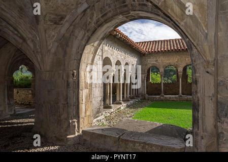 Cloister of the Cathédrale Sainte-Marie / Cathédrale Notre-Dame de Saint-Bertrand-de-Comminges cathedral, Haute-Garonne, Pyrenees, France - Stock Photo