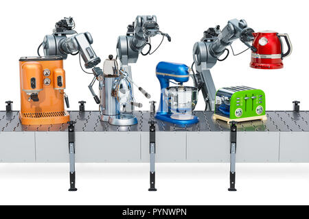 Robotic arms with household kitchen appliances on the conveyor belt, 3D rendering - Stock Photo
