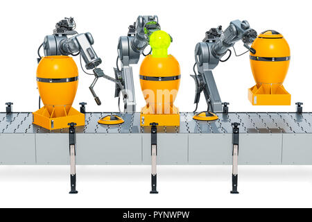 Robotic arms with nuclear atomic bombs on the conveyor belt, 3D rendering isolated on white background - Stock Photo