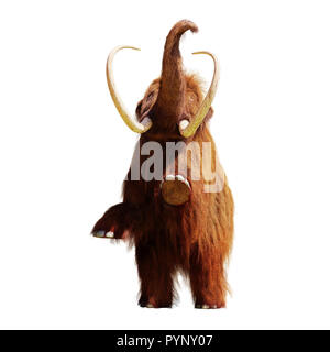 woolly mammoth standing on two legs, extinct prehistoric animal isolated on white background (3d illustration) - Stock Photo
