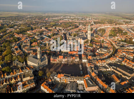 Aerial view of Middelburg, Zeeland - Stock Photo