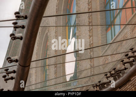 New York, USA. 29th October, 2018. The Brooklyn Academy of Music in Brooklyn in New York is seen decorated on Monday, October 29, 2018 in advance of it's hosting Tuesday's Apple product announcement. Apple is expected to release updated versions of the iPad and Mac computers. It also is scheduled to release third-quarter earnings after the bell on Thursday. Credit: Richard Levine/Alamy Live News - Stock Photo