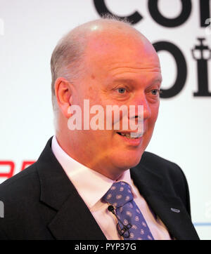 London, UK. 29th Oct, 2018. Transport Minister Chris Grayling MP speaking at the Airport Operators Conference being held at County Hall, London today (Mon) Credit: Finnbarr Webster/Alamy Live News - Stock Photo