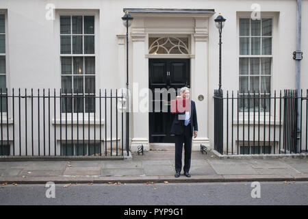 London, UK. 29th Oct, 2018. Chancellor of the Exchequer Philip Hammond presents the last Budget before Brexit outside 11 Downing Street beofre leaving for Parliament with promises to end austerity and increase in public spending Credit: amer ghazzal/Alamy Live News - Stock Photo