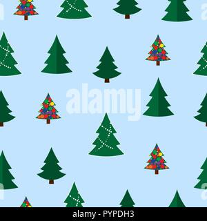 Vector christmas tree seamless pattern. Winter forest, pine trees - Stock Photo