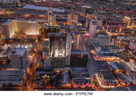Aerial evening view of portion of Las Vegas Strip. - Stock Photo