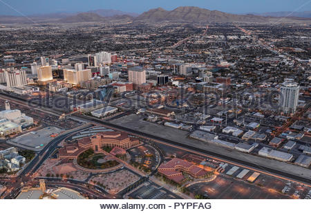 Aerial night view of Clark County Government Center in Las Vegas. - Stock Photo
