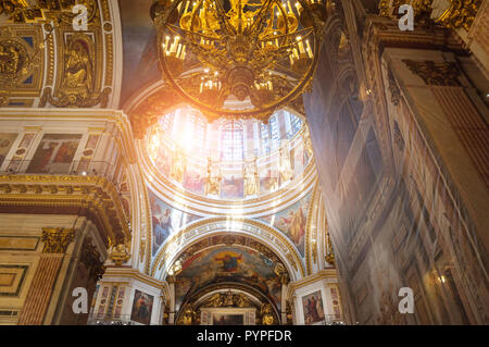 ST PETERSBURG, RUSSIA - AUGUST 15, 2017. Interior of the St Isaac Cathedral in St Petersburg, Russia - Stock Photo