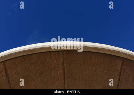 Pre cast concrete shelter curved roof detail on Cleveleys promenade Fylde coast lancashire north west England uk - Stock Photo