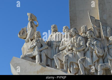 The Monument of the Discoveries at the Tagus River in Lisbon, Portugal, was built in honor of Henry the Navigator, celebrating the Age of Exploration. - Stock Photo