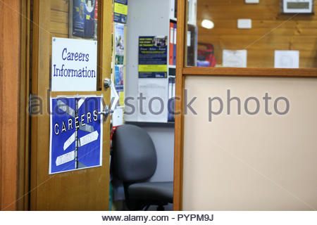 open door to the career adviser coordinator room in a high school environment. Further education and employment, future, choices and advice concept. - Stock Photo