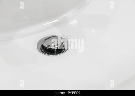 Details of ceramic white sink in the modern bathroom. - Stock Photo