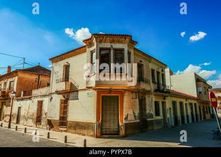 Beautiful old house on the corner of Calle de Marques De Cubas, Jicarilla, Spain - Stock Photo
