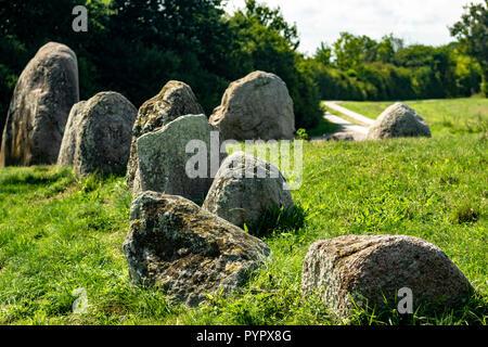 Dolmen megalithic stone circle in Nobbin on the baltic island Ruegen - Stock Photo