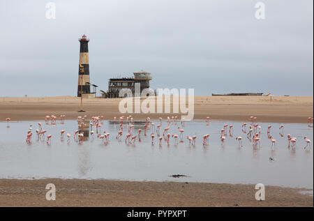 Walvis Bay Namibia - the lighthouse, Pelican Point Lodge and flamingos, Walvis Bay, Namibia coast Africa - Stock Photo