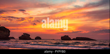 Spectacular sunset seen from the beach in Biarritz, France - Stock Photo