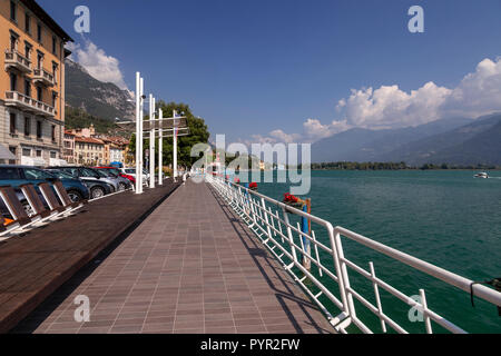 Lakeside promenade at Lovere on Lake Iseo, italy - Stock Photo