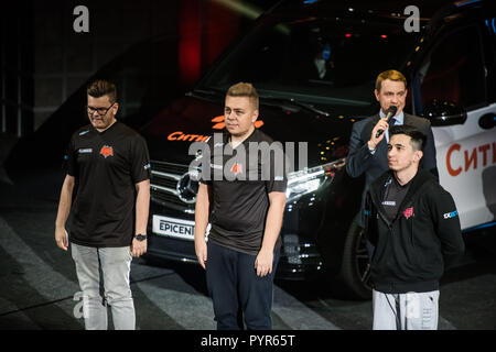 MOSCOW, RUSSIA - OCTOBER 27 2018: EPICENTER Counter Strike: Global Offensive esports event. Introduction of the team Hellraisers. Players on a stage. - Stock Photo