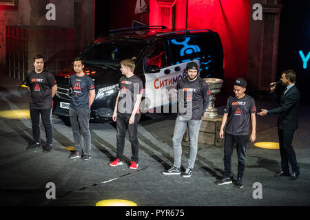 MOSCOW, RUSSIA - OCTOBER 27 2018: EPICENTER Counter Strike: Global Offensive esports event. Introduction of the team Avangar. Players on a stage. - Stock Photo