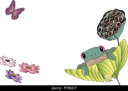 Green tree frog sitting on the big leaf, blooming colorful nelumbo or lotus flowers and beautiful butterfly flying above. - Stock Photo
