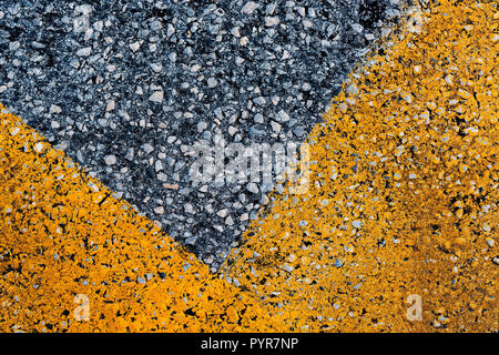 Asphalt with yellow road marking as abstract background, top view pattern - Stock Photo