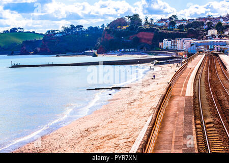 The railway trains at Dawlish ruining again after the storm damage of 2014. - Stock Photo