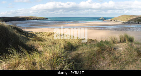 A panoramic view from the sand dune system overlooking Crantock Beach in Newquay in Cornwall. - Stock Photo
