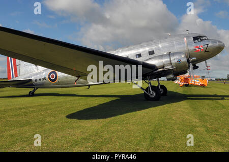 Douglas DC-3 of Dakota Norway, a Norwegian nonprofit foundation which operates and owns Norway's only Douglas C-47 Skytrain transport plane. LN-WND - Stock Photo