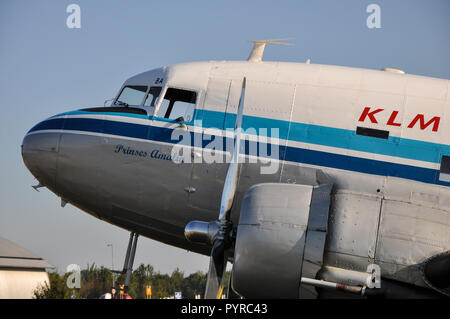 KLM Douglas DC-3 C-47 Skytrain named Prinses Amalia PH-PBA transport plane. Second World War D-Day veteran having dropped paratroopers over France - Stock Photo