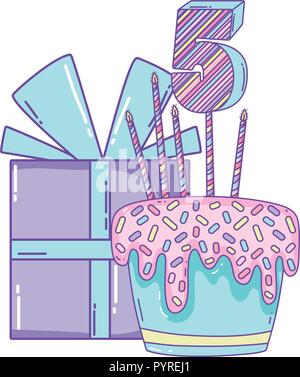 Gift Box And Birthday Cake With Number Four Candle Over White