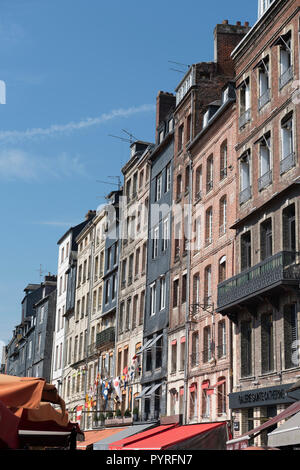 Quayside historic buildings around the Vieux-Bassin (Old Harbour) in the medieval town of Honfleur, Calvados, Normandy, France. - Stock Photo