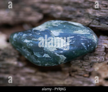 Bowenite small palm stone, known as Maori Greenstone, is a form of serpentinite  from New Zealand. On fibrous tree bark in the forest preserve. - Stock Photo