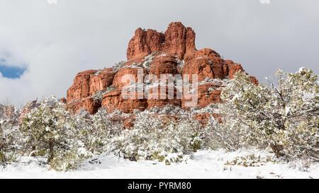 Bell Rock after a snow storm near Sedona, Arizona - Stock Photo
