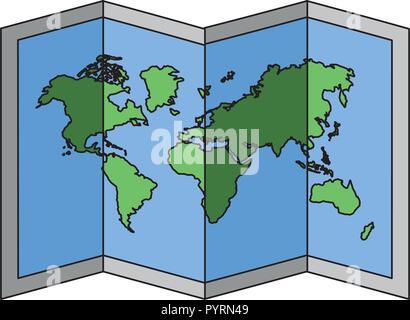 folded map world on white background - Stock Photo
