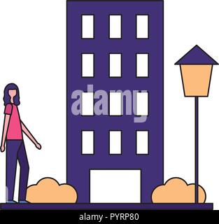 woman standing near building city - Stock Photo