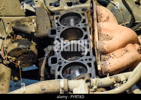 Disassembled car engine. Engine repair VAZ. Old car. - Stock Photo